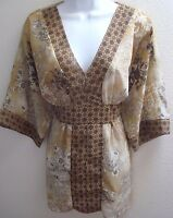 top blouse xl extra large womens 16 18 sheer brown floral print v neck casual