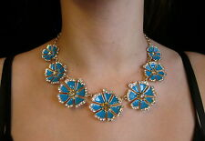 Kate Spade SET NECKLACE EARRINGS Crystal pave Garden Grove turquoise blue flower