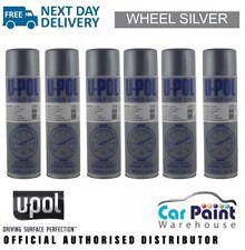 6 x U-POL Power Can Wheel Silver 500ml Aerosol Spray Cans UPOL Alloy Paint