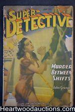 Super Detective Jan 1943 H.J. Ward Cvr, begging for life, Jim Anthony adventure