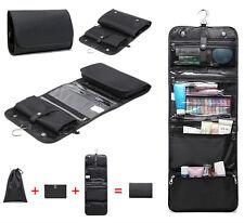 Men Black Toiletry Laundry Bag Foldable Travel Hanging Hook Organizer Kit 3 in 1