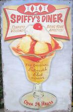 Spiffy's Diner TIN SIGN metal vtg retro ice cream sundae bar art wall decor OHW