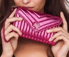 Victoria's Secret Quilt Metallic Crackle Tech Clutch WALLET Bombshell Pink NEW