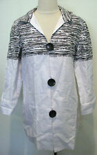 CHICOS Spring Jacket  White Black Linen Blend Chico's Graphic Size 0