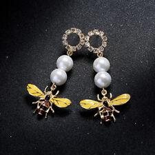 Elegant Fashion Earrings Stud Crystal Long Yellow Bee Big Pearl Drop Jewelry