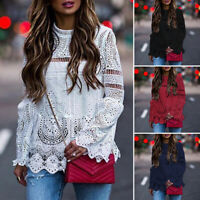 S-5XL Women Long Sleeve Loose Shirt Hollow Out Lace Up Oversized Top Blouse Tee