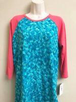 Lularoe Randy T Tee Top Medium Pink Blue Floral Women Boutique Fashion