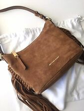 Michael Kors Billy Dark Caramel Brown Leather Medium Fringe Messenger Crossbody