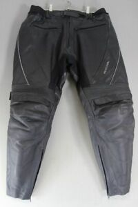 RICHA BLACK LEATHER BIKER TROUSERS WITH CE ARMOUR: WAIST 34 IN/INSIDE LEG 28 IN