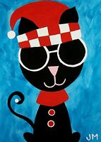 """~FREE SHIPPING~original painting ACEO size signed art """"The Cat Jester"""""""