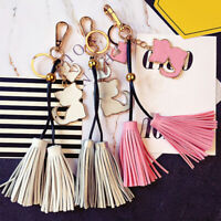 Women Tassel Keychain Purse Bag Key Chain Handbag Cat Pendant Keyring Key Ring D