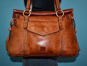 DOONEY & BOURKE 'FLORENTINE SMITH' Brown Leather Shoulder Satchel Purse Bag Tote