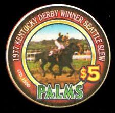 $5 Las Vegas Palms 1997 Kentucky Derby Winner Seattle Slew Casino Chip - UNC