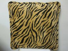 "Exotic Large Faux Fur Tiger Throw Pillows Square 18"" x 18"" Pre Owned"