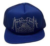 NOS Vintage Made in USA Hat Trucker Snapback Blue Prairie La Maison Du Rocher IL