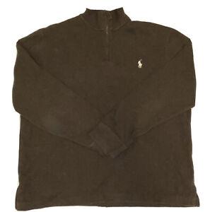 Polo Ralph Lauren Men's Brown 1/2 Zip Pullover 100% Cotton Sweater Size XL