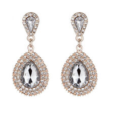 Fashion Women Long Teardrop Drop Rhinestone Crystal Dangle Stud Earrings Jewelry
