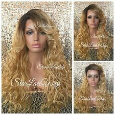 Synthetic Lace Front Wig Honey Blonde Dark Root Long Wavy Bangs Layered Heat Ok