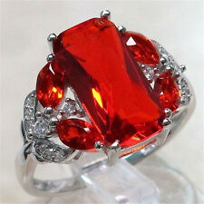Noble Unisex 925 Silver Rectangle Ruby Rings Engagement Bridal Jewelry Size 8