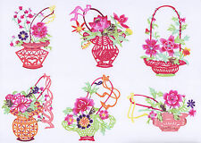 Chinese Paper Cuts 10 Basket Flower Set 10 colorful small pieces Zhou