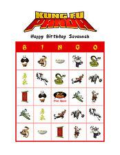Kung Fu Panda Birthday Party Game Bingo Cards