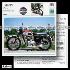 #007.01 TRIUMPH 650 BONNEVILLE T120 1969 Fiche Moto Classic Bike Motorcycle Card