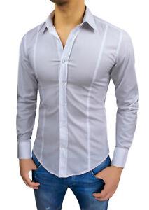 Men's Shirts White Slim Fit Super Tight Smart Casual Tag XS S M L XL XXL
