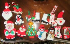 FINISHED Plastic Canvas Needlepoint Christmas Ornaments Lot of 15 Finished
