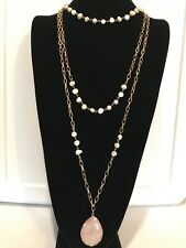 NWT WHITE HOUSE BLACK MARKET Rose Quartz Freshwater Pearl Convertible Necklace