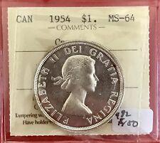 1954 Cameo Canada Silver Dollar Coin 492 ICCS MS 64 $150