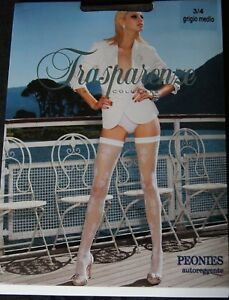 """Trasparenze """"Peonies"""" Mid Grey Floral Lace Hold Ups S/M"""