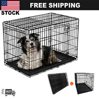 "Large Dog Crate 42"" Kennel Folding Pet Cage 2 Doors XL Metal Wire Tray Pan"