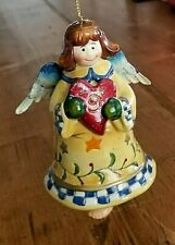 Ceramic Hanging Angel holding Heart with Dangling Legs Bell Ornament Christmas