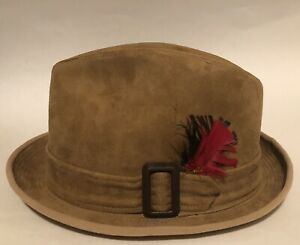 VINTAGE CHURCHILL TAN SUEDE  FEDORA HAT SIZE 7 1/4
