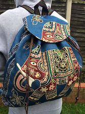 Hippie Boho Gypsy Backpack Elephant Design Rucksack School University Blue Bag