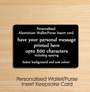 Personalised Text Mini Wallet or Purse Insert Card Birthday Keepsake Gift Black