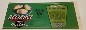 Reliance Pacific Oysters Label Reliance Pure Foods Seattle Washington