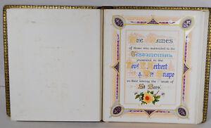 Antique 1911 Illuminated Manuscript St. Bees Church Priory Cumbria England