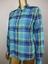 SPORTSCRAFT Blue Plaid Check SHIRT Blouse TUNIC Top Suit Career Corporate 10