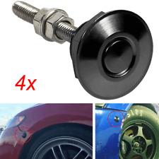 4x Black Quik Release Latch Fastener Car Hood Push Button Bumper Clips Pins Lock