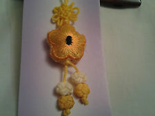 hand-made yellow Chinese knot, charm, pendant with embroidery 5 petal flower