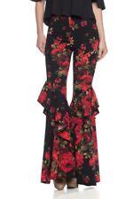 Black Red Pink Floral Ruffle Wide Bell Bottom Skinny Pants Leggings High Waist