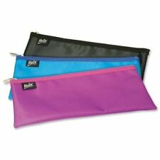 HELIX Nylon EXAM PENCIL CASE Co-ordinated  ZIP 330 X 125mm in Assorted Colours