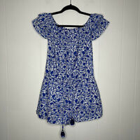 Vineyard Vines Women's Bahamas Otomi Print Romper Off Shoulder Blue White XS