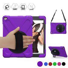 Apple iPad Air 2 Case Shockproof Kickstand Hand Shoulder Strap Full Cover Purple