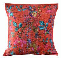Pillow Cover Cotton Kantha Home Handmade Decor Gift Indian New Bird Cushion