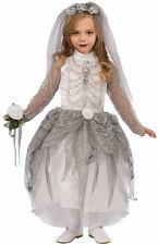Girls Skeleton Bride Costume Spooky Creepy Scary Ghost Child Size Medium 8-10