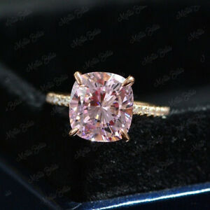 2Ct Cushion Cut Pink Diamond Solitaire Engagement Ring Set 14K Rose Gold Finish