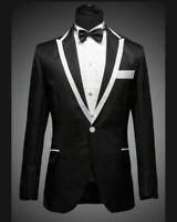 Men's White and Black Tuxedo Dress, Wedding Blazer (Include Pants)