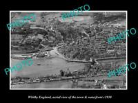 OLD LARGE HISTORIC PHOTO OF WHITBY ENGLAND VIEW OF THE TOWN & WATERFRONT 1930 1